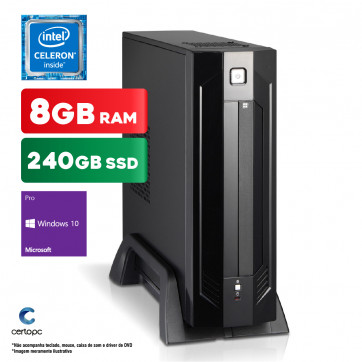 Mini PC Intel Dual Core J1800 8GB SSD 240GB Windows 10 PRO Certo PC Estudo 148 ITX