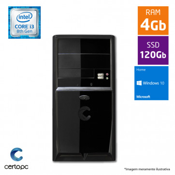 Computador Intel Core I3 8ª Geração 4GB SSD 120GB Windows 10 SL Certo PC Smart 1020
